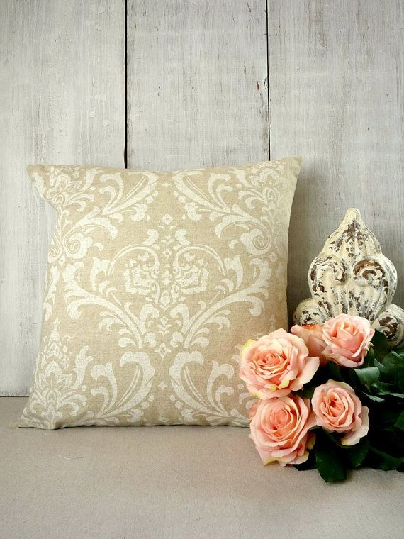 Tan Damask Throw Pillow Cover.  French Cottage or Farmhouse style by greenwillowpond