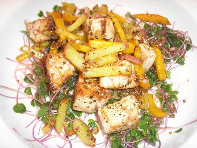 The Briny Lemon: Pan-Seared Swordfish, Potato, and Beet Salad with ...