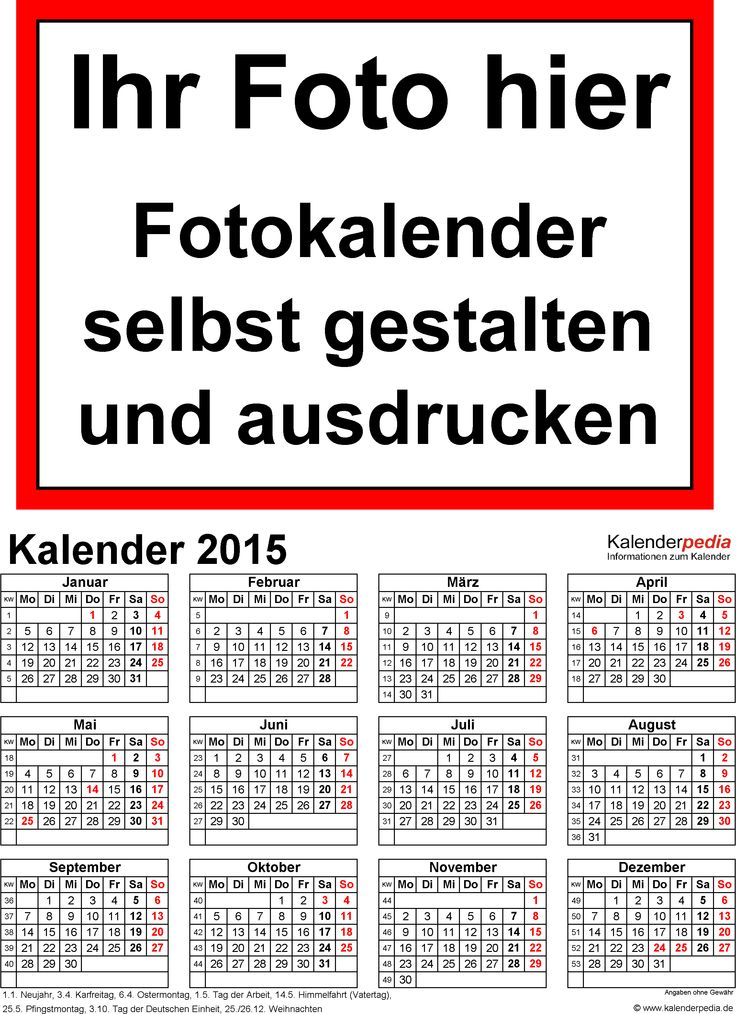 17 parasta ideaa Fotokalender 2015 Pinterestissä Fotokalender - küchenkalender 2015 selbst gestalten