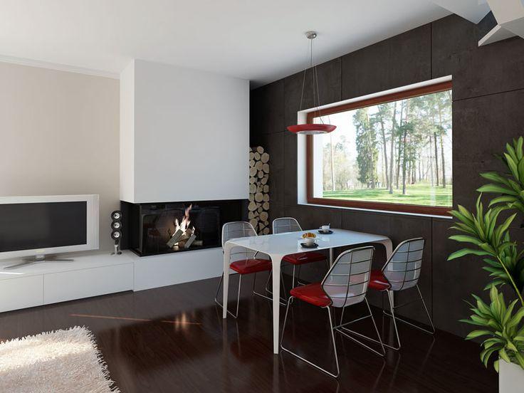 Wnętrze do projektu Len (108,84 m2). Jest to dom z użytkowym poddaszem stworzony z myślą o płytkiej działce. Pełna prezentacja projektu znajduje się na stronie:https://www.domywstylu.pl/projekt-domu-len.php. #projekty #dom #projekt #len #domywstylu #mtmstyl #projekty domów #projekty gotowe #architektura #style #design #home #houses #home design