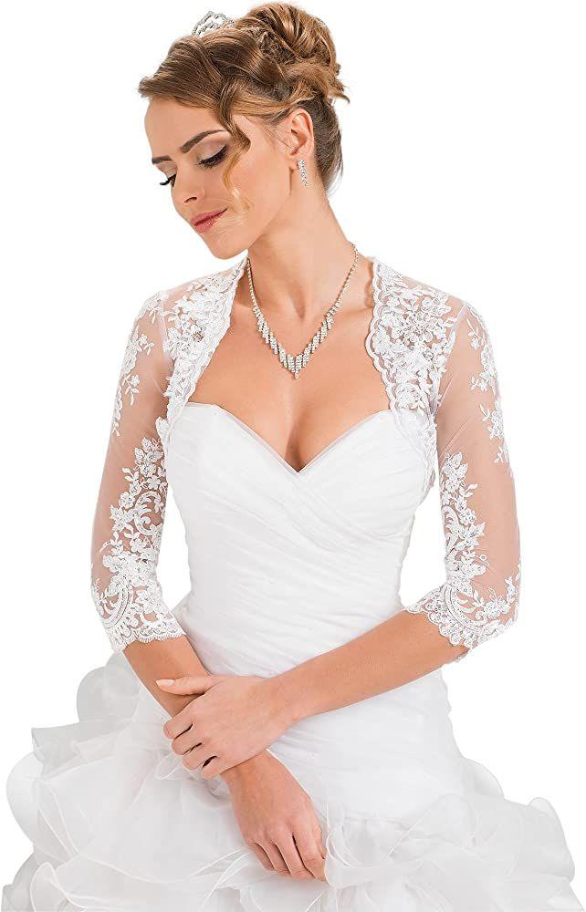 Damen Hochzeit Top Spitzen Jacke Fur Die Braut Spitzen Bolero Bolerojackchen Jacke 3 4 Langer Armel Kleider Damen Ges In 2020 Kleider Damen Braut Kleider Fur Frauen