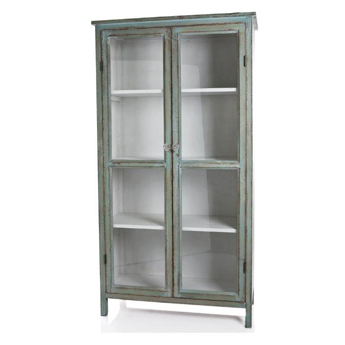 timber display cabinet teal