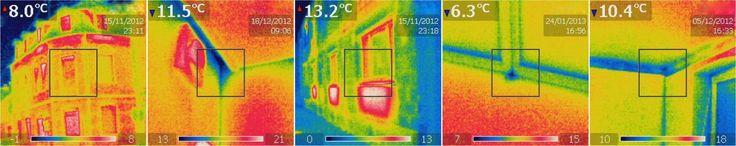 Thermografie mit der Wärmebildkamera um Wärmebrücken aufzuzeigen.