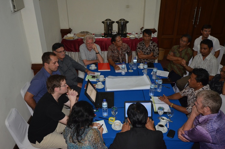 Meeting between East Lombok Forestry Department and ESL Team to discuss the Master Plan proposals and Forestry Planning Regulations.  Attendees: PK Suwartono (Forestry Ministry Representative), PK Sahri (East Lombok Forestry Department Representative), PK Mustarhadi (East Lombok Forestry Department Representative), PK Deni (BKSDA Representative), PK Hadi (Foreign Investment Board), PK Ekadana (Commissioner ESL), John Higson (CEO, ESL), Joachim Eble, Santi Ebelyna, Reville Saw, Rolf…