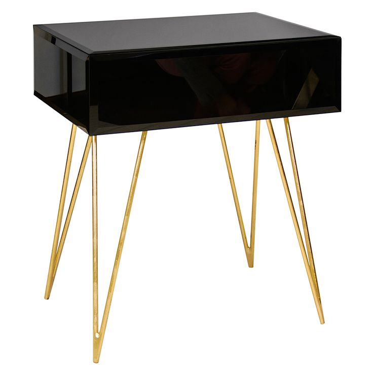 Worlds Away DEBRA BLG Black Glass Side Table With Gold Leafed Hairpin Legs