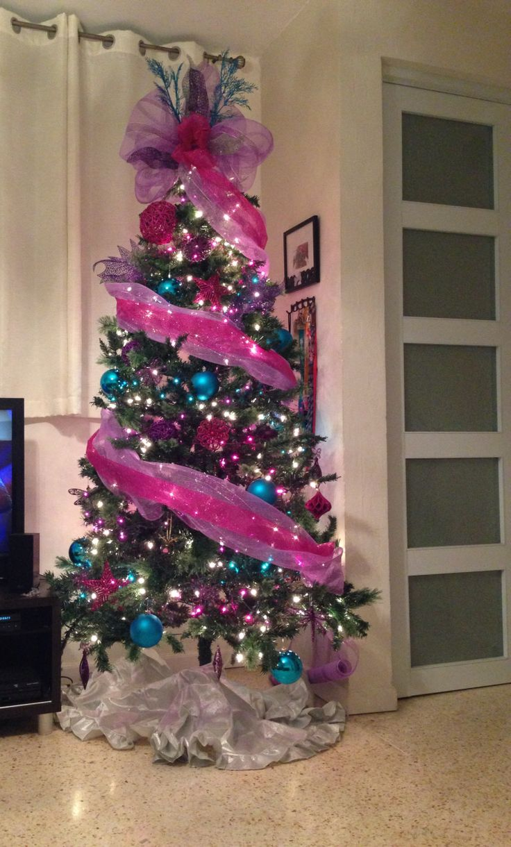 Christmas Tree Decorations Pink And Blue : Images about christmas trees on