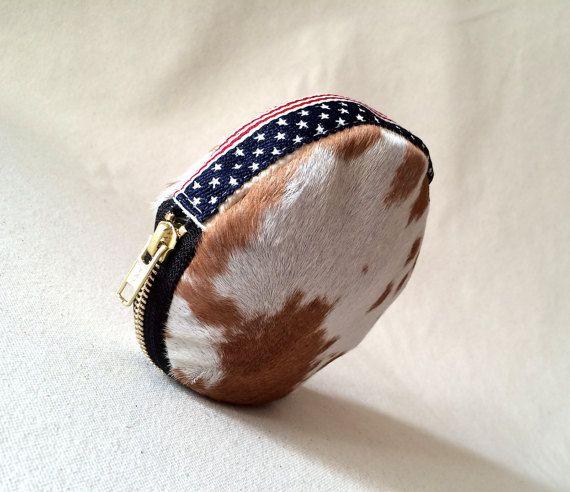 Cuatro de julio de bandera americana monedero, embrague, pelo manchado monedero de almeja de cuero, carpeta de cuero de la moneda, en ocultar carpeta de la moneda