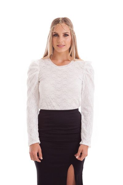 KATY LACE LONG SLEEVE TOP WITH PUFFY SHOULDER WHITE STYLE DETAILS:  White crochet lace style top with puffy shoulder  Crew neckline  FIT DETAILS:  Comfortable lace fabric Standard Australian sizing