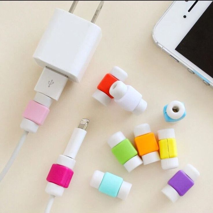 2x USB Cable Earphones Protector Colourful Cover for iPhone 4 5 6 Plus