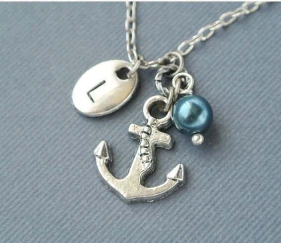 Excited to share the latest addition to my #etsy shop: Anchor necklace for women-Silver anchor jewelry gift for her-Nautical necklace-Initial anchor pendant jewelry-Personalized summer necklace
