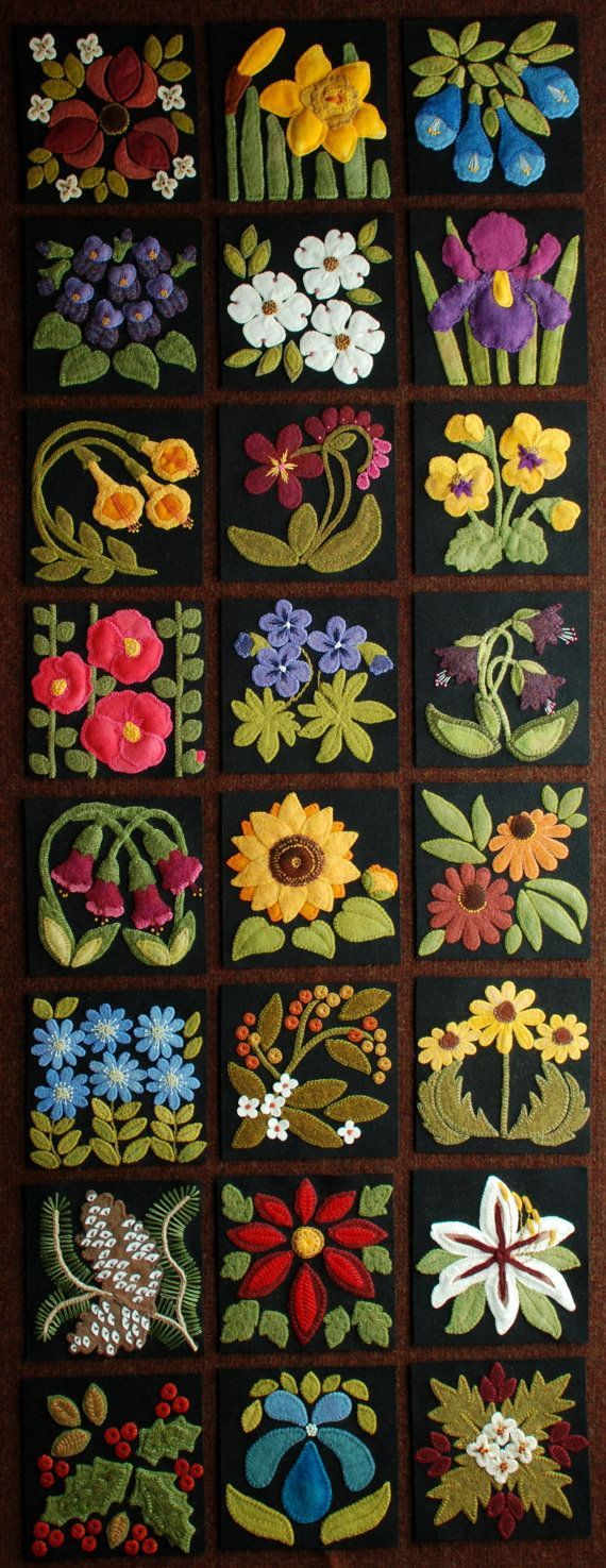 "Wool applique PATTERNS &/or KITS for ALL 24 6x6 inch blocks of ""Four Seasons of Flowers"" folk art wool quilt wall hanging table bed runner"