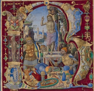 Initial R: The Resurrection, Antonio da Monza, late 1400s or early 1500s