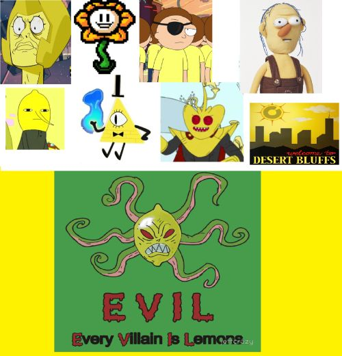 Villains are from: Steven Universe, Undertale, Rick and Morty, don't know, Adventure Time, Gravity falls, don't know, & Welcome to Night Vale