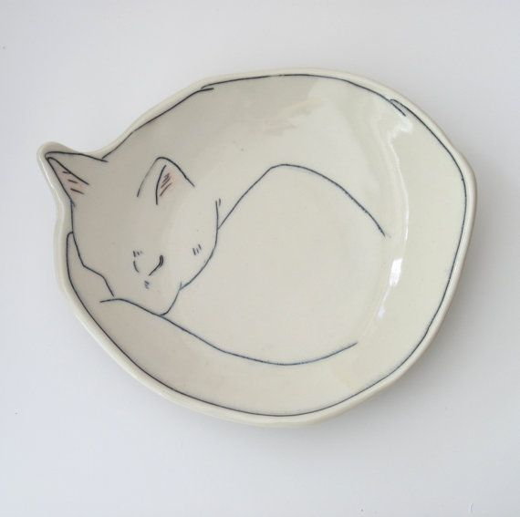 Made-To-Order Curled Up Kitty Dessert plate, bread plate Kitten, Cat, porcelain plate