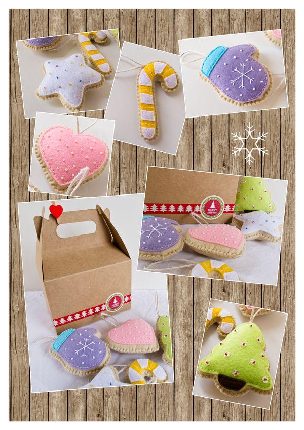 """The 3 Little Pigs """"dam"""" made stories: Christmas felt ornaments https://www.facebook.com/The3LittlePigs"""