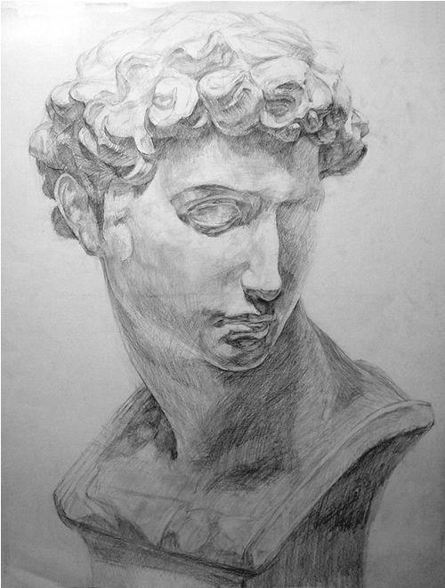 石膏像の鉛筆デッサン描き方過程07