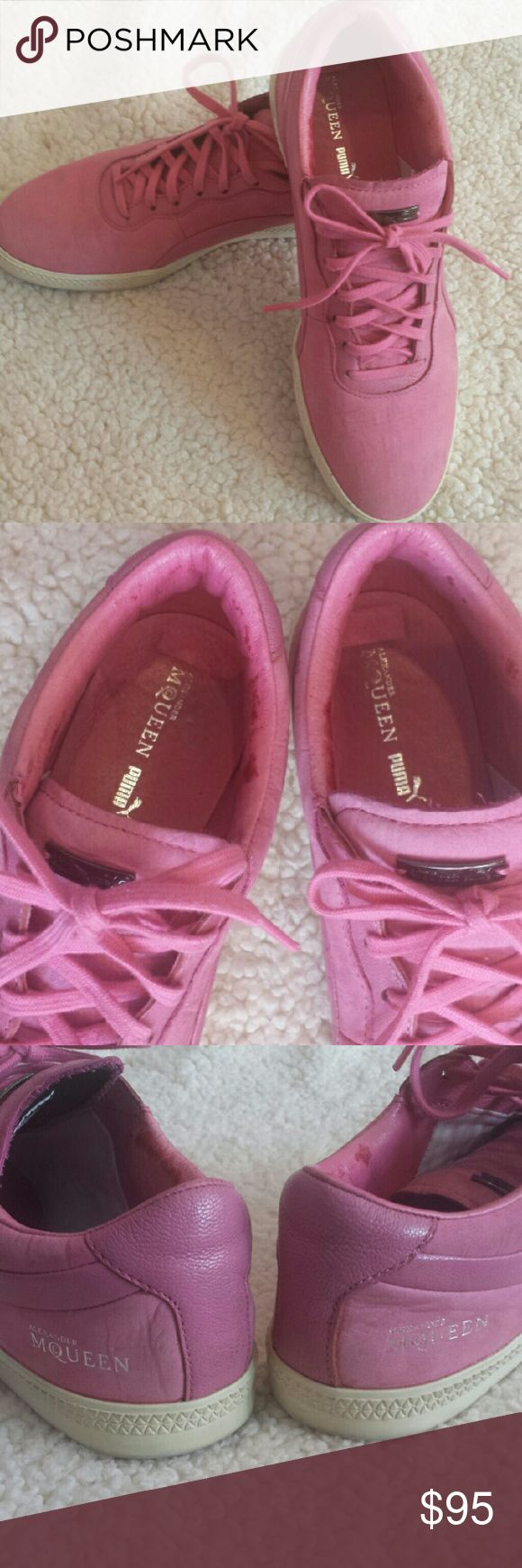 Alexander McQueen x PUMA Sneakers Pink leather and suede sneakers by McQueen for PUMA. These are in good condition, no outer skuffs, no tears, rubber sole intact, shoelaces not distressed. Still has metal tag on outer tongue and logo on outer edge and inn https://ladieshighheelshoes.blogspot.com/2016/11/holiday-sale.html
