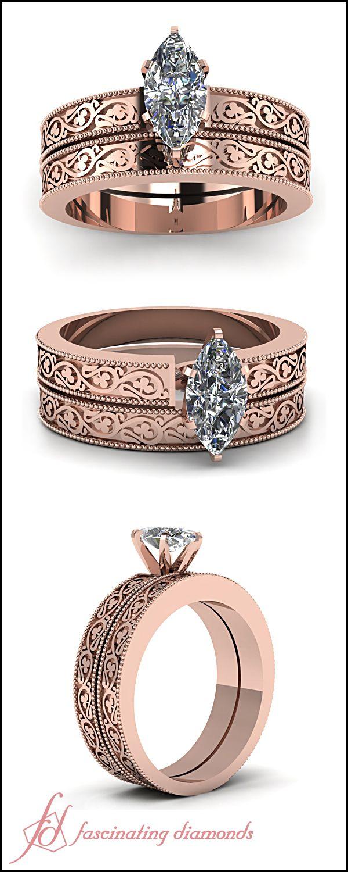 Shamrock Carved Set    Marquise Shaped Diamond Wedding Sets In 14K Rose Gold