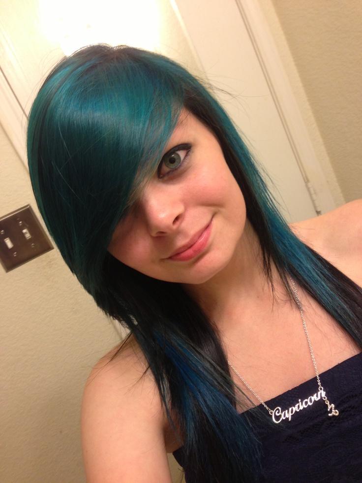 Blue Bangs Blue Streaks Black Hair Emo Hair Scene Hair Hair