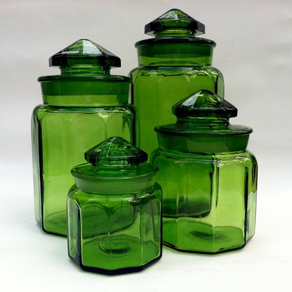 Green Kitchen Canisters: Vintage 1960s LE Smith Glass Canisters!!