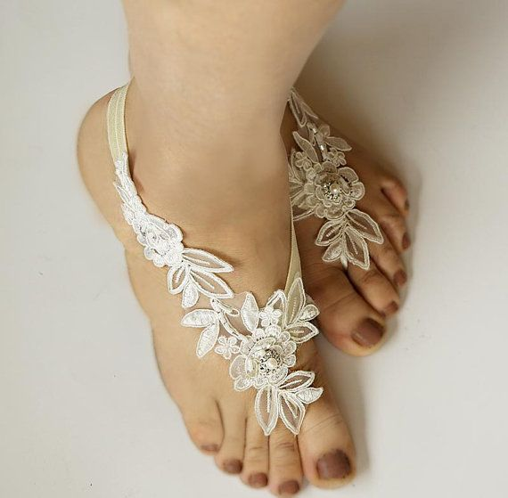 Light Ivory Beaded Lace Wedding Barefoot Sandals by Kimsically