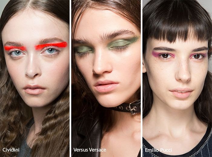 Colorful, graphic eyeshadow is an opportunity for the makeup artists of the runway to showcase their creativity, steady hand, and ability to work with color. This season, some graphic eyeshadow styles were the same from model to model, making for very impressive cohesion on the runway. This cohesion was especially beautiful on the Haider Ackermann runway, where all models sported bright yellow arrows at the outer corner of their eyes, with white accents in their inner corners. At Emili...