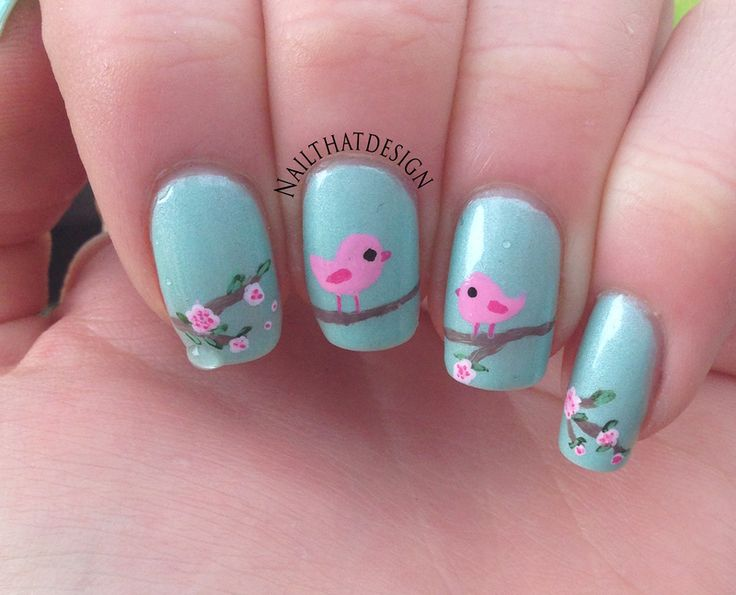 pretty little birds nail art