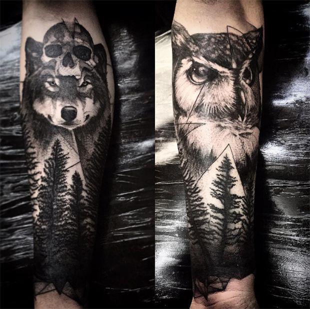 O mineiro Gustavo Abreu mistura técnicas em pontilhismo, realismo, sketches, aquarela e o que mais imaginar, para criar fantásticas tattoos em blackwork.