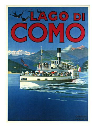 ITALY - Lake Como - Vintage Travel Poster: