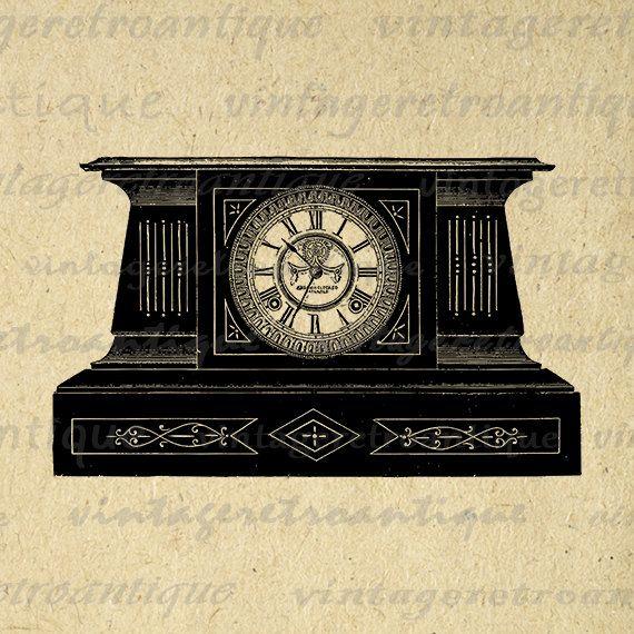 Printable Digital Antique Mantle Clock by VintageRetroAntique