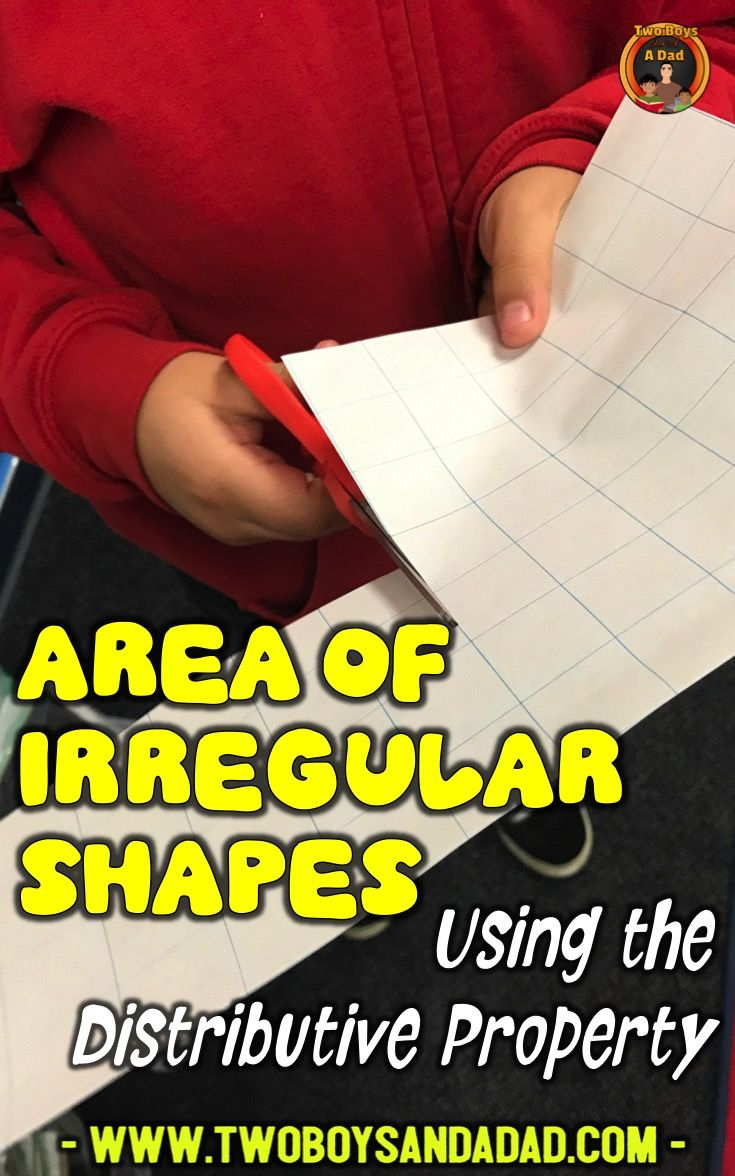 Find the area of irregular shapes using the distributive property of multiplication can be taught with a hands on approach.  In this lesson, I show how I had the students cut apart an irregular shape to find the area of regular rectangles and then add the areas.  But what happens when tiles or squares are not present?  Can the student reason through the process and find the area of irregular shapes?  Come read about it on my blog!