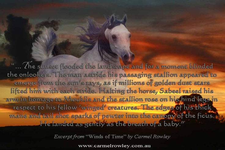 Short excerpt from Winds of Time from my blog ...  www.carmelrowley.com.au/blog