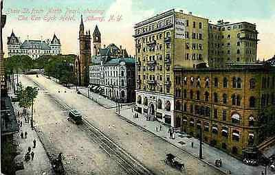Albany New York 1908 State Street State Capitol St Peter's Church Ten Eyck Hotel Albany New York NY Circa 1908 Ten Eyck Hotel, St. Peter's Church and State Capitol at end of State Street. Unused colle