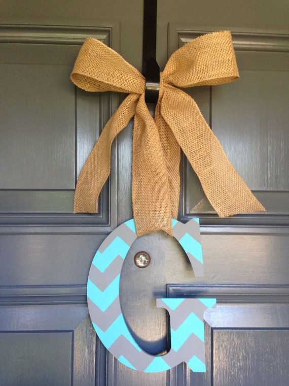 Monogram Initial Painted Chevron Burlap Letter G Door Hanger Decor Dorm Birthday