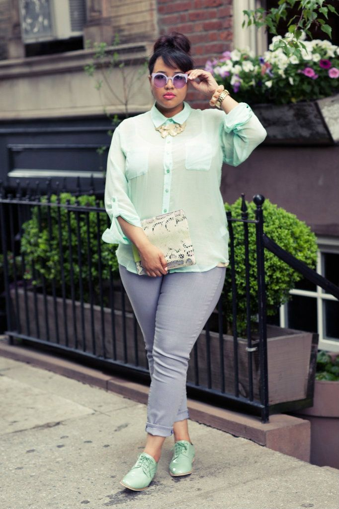 """The blog of plus sized model Gabi Gregg, called GabiFresh, is just a breath of fresh air.  She says: """"If you love fashion but you're sick of being told to wear A-line skirts, wrap dresses, boot cut jeans, and slimming prints, this is the blog for you.""""   Her style is just a delight (except I dislike all of her big chunky platform shoes -- the oxfords I love)"""