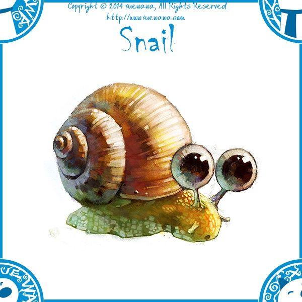 ANIMALS_watercolor [duitang]-snail