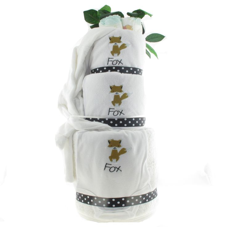 Rear view of little Fox's nappy cake