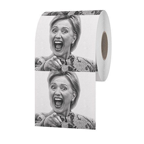Novelty Hillary Clinton Toilet Paper Roll for Political Parties, Gag Gifts, and Pranks with FREE Hillary Jokes Sheet PDF from HiperSpeed