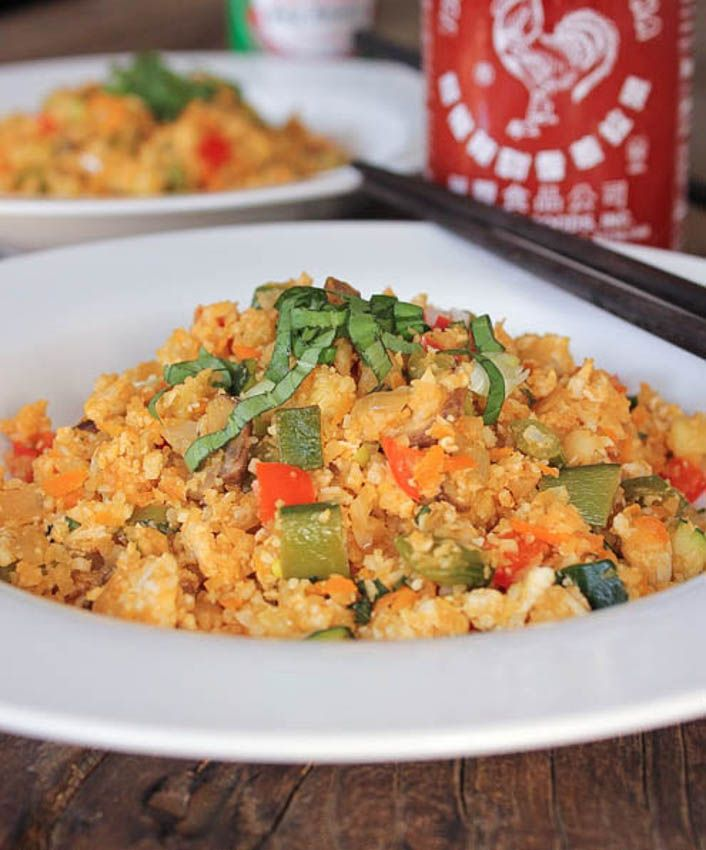 """Cauliflower """"Fried Rice."""" Paleo, vegetarian, and just straight up healthy awesomeness. Riced cauliflower is your new best friend."""