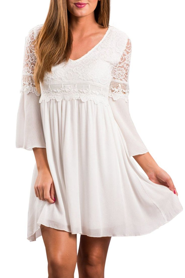 Robe Evasee Femme Chic Blanche Dentelle Manche Longue Elegante Pas Cher www.modebuy.com @Modebuy #Modebuy #Blanc #style #mode #nice #women