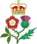 Floral Badge of Great Britain The Tudor rose (England) and the Scottish Thistle coming out of the same stem, a heraldic badge used by Queen Anne after the Act of Union in 1707.
