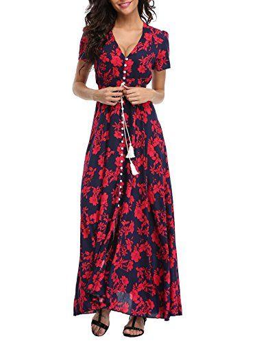 8123bf28474 VOGMATE Femme Robe Chic Longue Col V à Fleur Manches Courtes en Coton Robe  Maxi de Plage D été Casual (S-2XL)