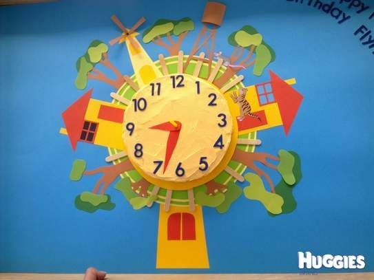 I took a photo of the Playschool clock on TV and hand drew the parts and recreated it in cardboard for my sons First Birthday, he loved it!