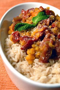 curried lentils with rhubarb and sweet potatoes