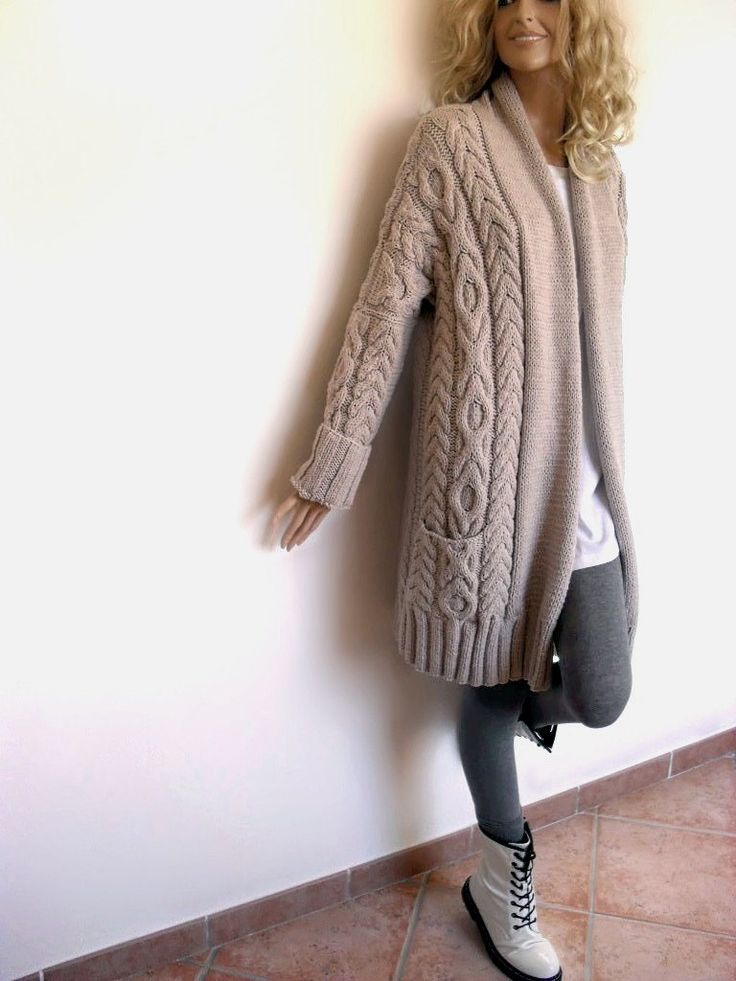 Loose fit Oversized Handknit Women Jacket Cardigan Sweater with pockets and Cable pattern Merino Extrafine Light Beige. $360.00, via Etsy.