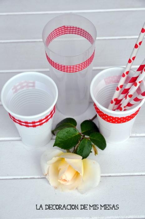 la decoración de mis mesas: ♥ DIY: Vasos de plástico decorados con washi-tape