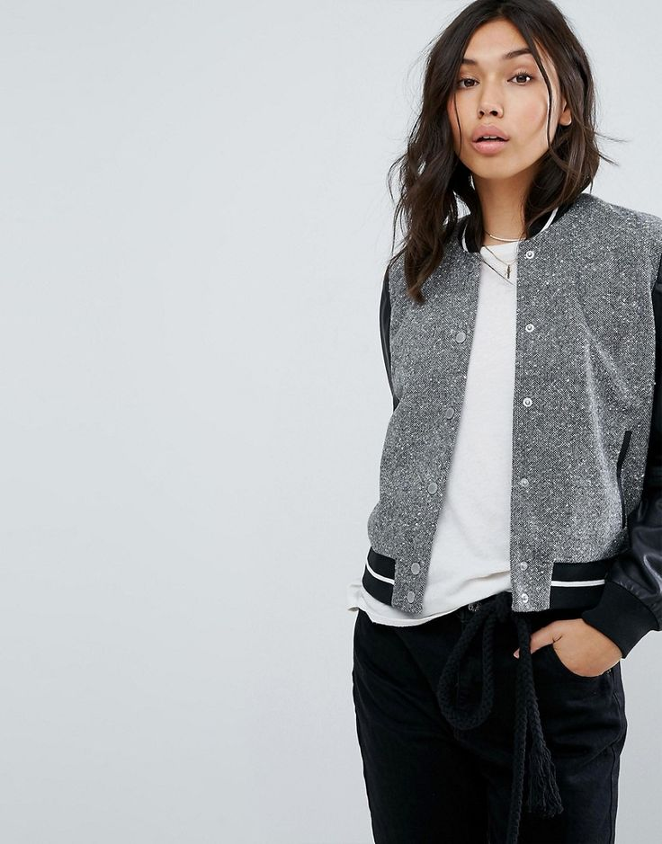 Abercrombie & Fitch Contrast Sleeve Varsity Bomber - Gray