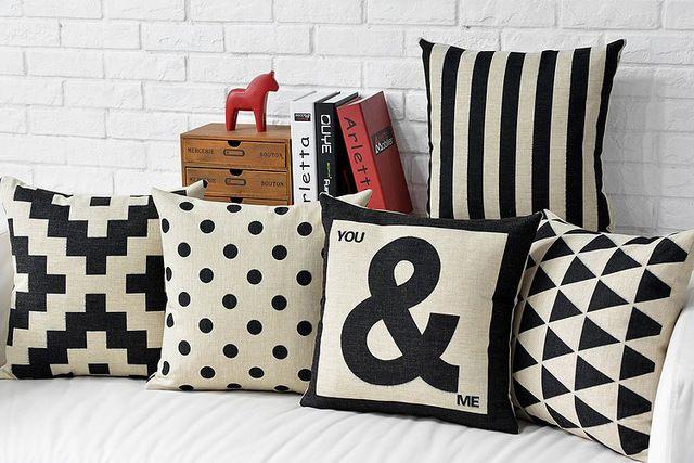 Frete grátis preto listras de ziguezagues triângulos geométrica cruz plus e me palavras padrão capa de almofada lance fronha