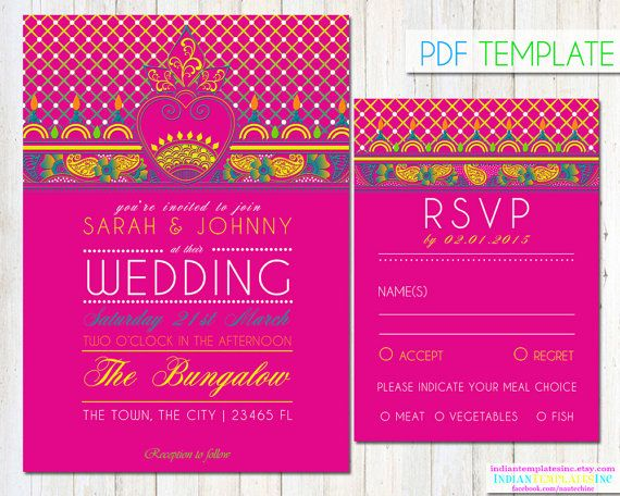 Instantly download this hand drawn brightly colored mehndi pattern on fuschia pink Indian wedding invitation template, that you personalize at home