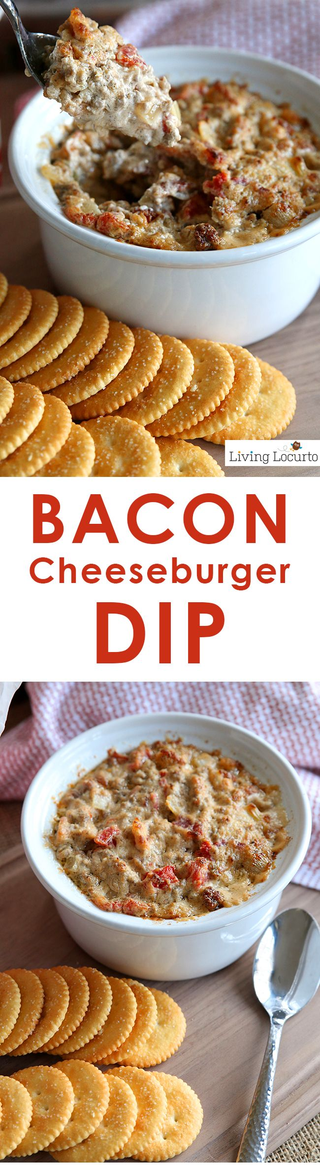 Amazing Bacon Cheeseburger Dip Recipe! It's the perfect snack recipe for a football party or delicious appetizer for your next holiday party. An addictive warm, cheesy dip recipe you can't stop eating! LivingLocurto.com